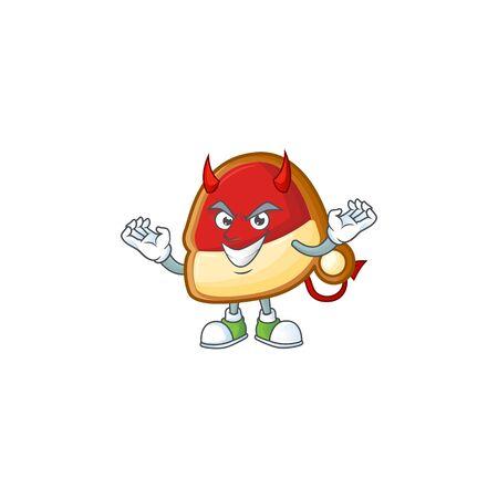 mascot cartoon of christmas hat cookies on a Devil gesture design. Vector illustration