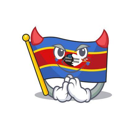 Cartoon character of flag swaziland on a Devil gesture design. Vector illustration Ilustrace