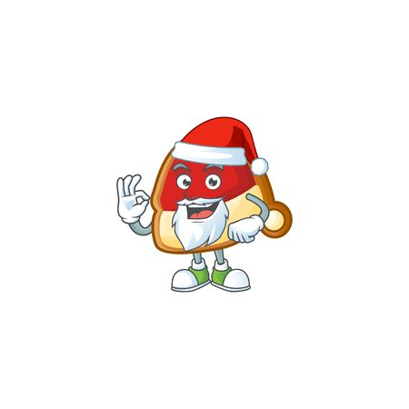Christmas hat cookies in Santa cartoon character design. Vector illustration