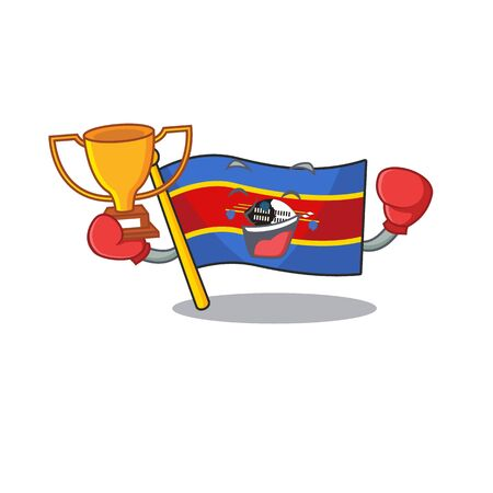 Super cool Boxing winner flag swaziland in mascot cartoon style. Vector illustration Archivio Fotografico - 134497373