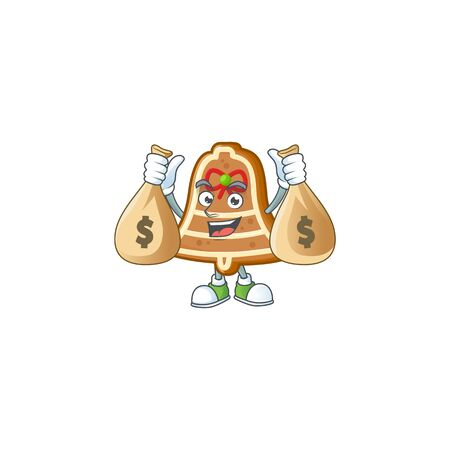 Cute bell cookies cartoon character smiley with money bag