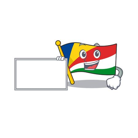 Flag seychelles with board cartoon Character design style. Vector illustration