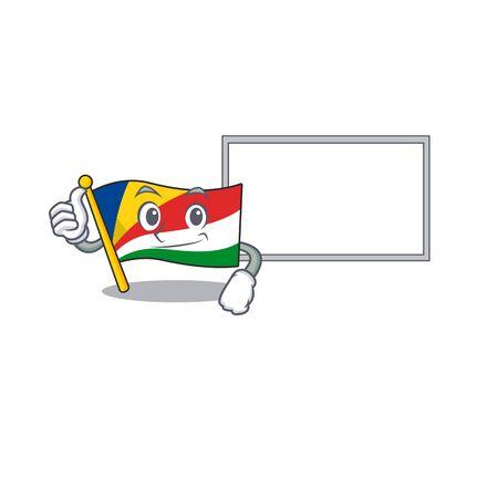 Flag seychelles cute cartoon character Thumbs up with board. Vector illustration