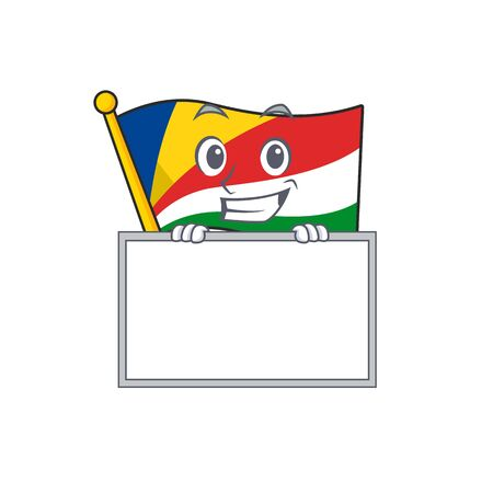 Grinning with board flag seychelles cartoon character style. Vector illustration