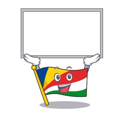 cute cartoon character flag seychelles raised up board. Vector illustration