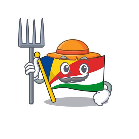 Farmer flag seychelles cartoon character with hat and tools