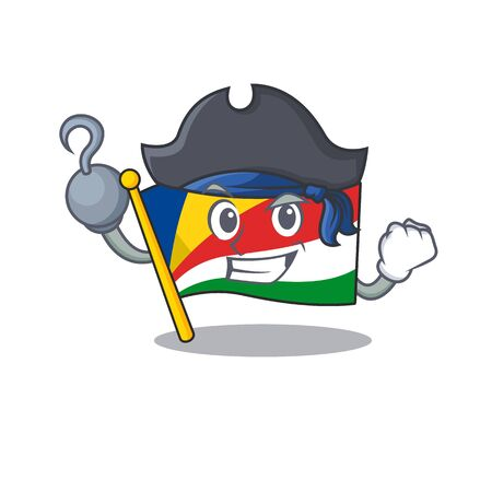 one hand Pirate flag seychelles mascot cartoon style Ilustrace