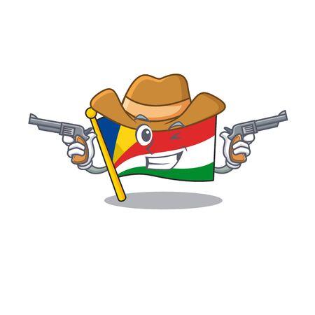 Flag seychelles cartoon character as a Cowboy holding guns. Vector illustration