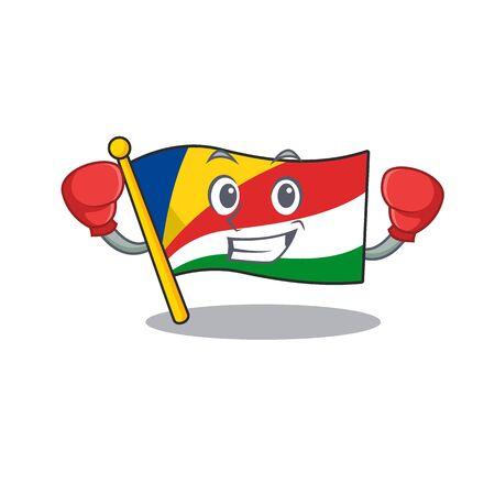 Funny Boxing flag seychelles cartoon character style