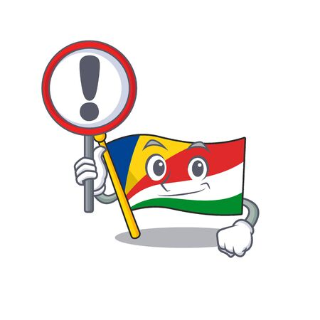 Cartoon style of flag seychelles with sign in his hand. Vector illustration Ilustrace