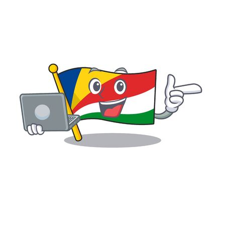 Happy smiling flag seychelles cartoon character working with laptop. Vector illustration
