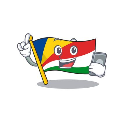 mascot cartoon style of flag seychelles speaking with phone. Vector illustration