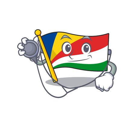 Flag seychelles cartoon mascot style in a Doctor costume with tools