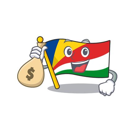 Cute flag seychelles cartoon character smiley with money bag