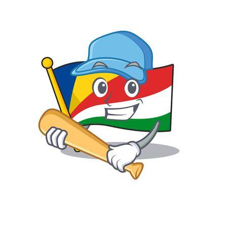 Funny smiling flag seychelles cartoon mascot playing baseball