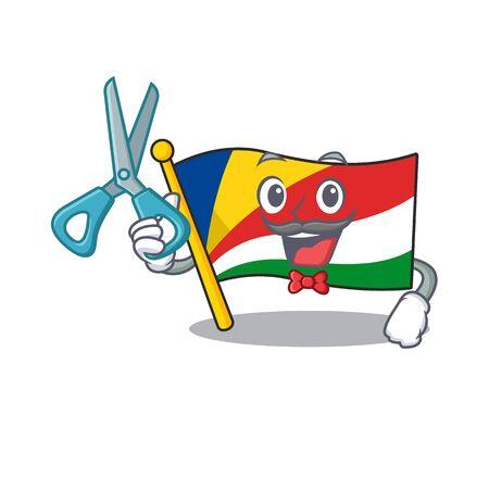 Happy Barber flag seychelles mascot cartoon character style