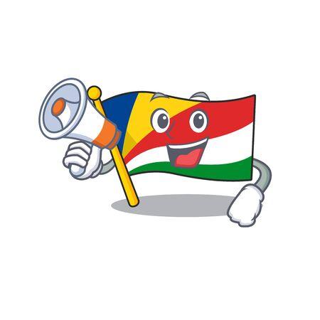Funny cartoon style of flag seychelles with megaphone Ilustrace