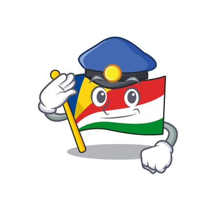 Flag seychelles Cartoon character dressed as a Police officer. Vector illustration