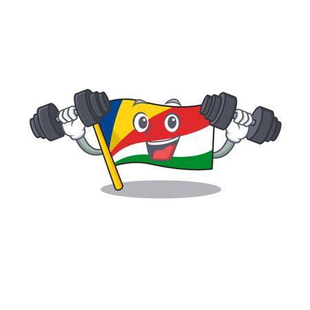 Fitness exercise flag seychelles cartoon character holding barbells. Vector illustration