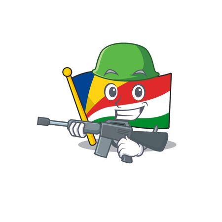A cartoon style of flag seychelles Army with machine gun