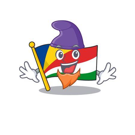 Flag seychelles mascot cartoon style as an Elf