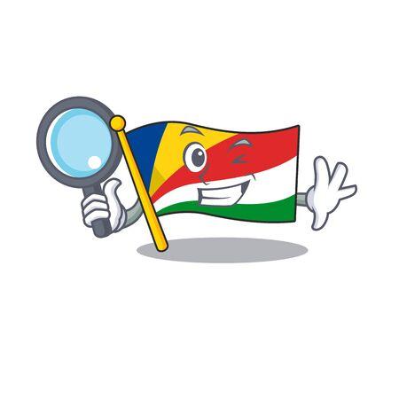 One eye flag seychelles Detective cartoon character style