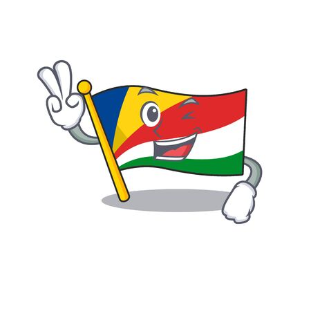 Flag seychelles Character cartoon style with two fingers