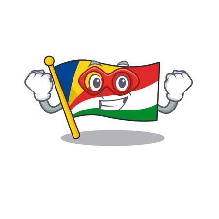 A cartoon of flag seychelles wearing costume of Super hero