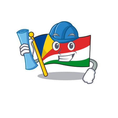 Cheerful Architect flag seychelles cartoon style holding blue prints