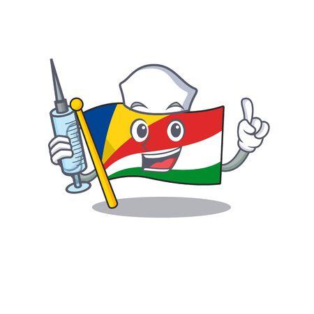 Cute Nurse flag seychelles character cartoon style with syringe