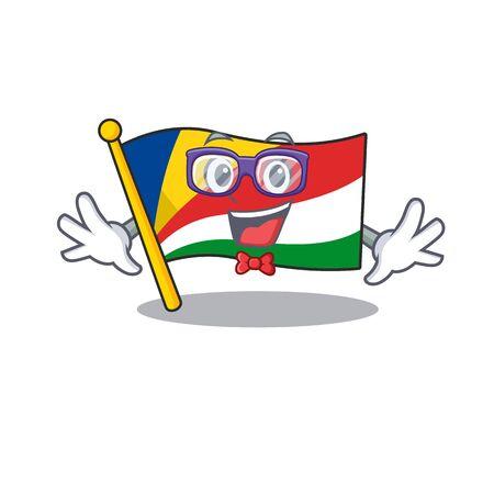 Super Funny Geek smart flag seychelles mascot cartoon style. Vector illustration