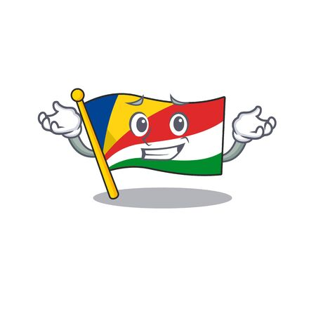 Super Cool Grinning flag seychelles mascot cartoon style