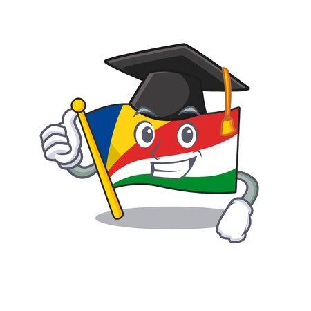happy flag seychelles wearing a black Graduation hat