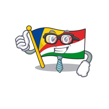 Cool Businessman flag seychelles cartoon in character. Vector illustration Ilustrace