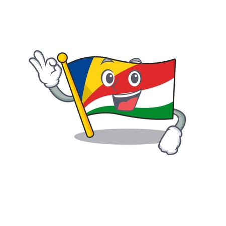 Sweet flag seychelles cartoon character making an Okay gesture Ilustrace