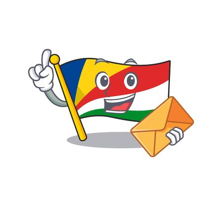 With envelope Happy face flag seychelles mascot cartoon style