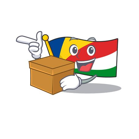 With box Super Funny flag seychelles cartoon character style. Vector illustration