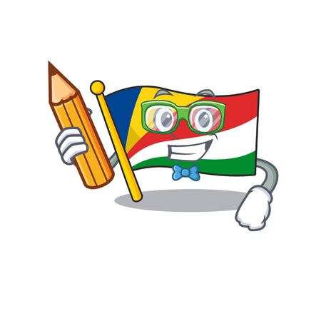 Cool smart Student flag seychelles character holding pencil