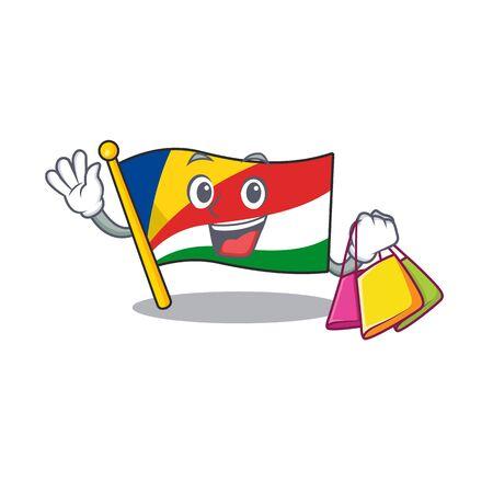 Cheerful flag seychelles cartoon character waving and holding Shopping bag
