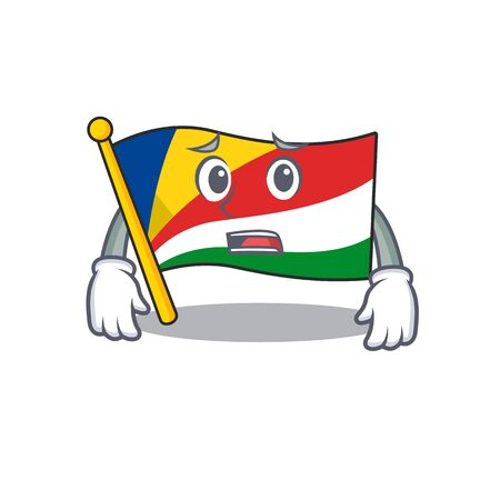 Flag seychelles Cartoon character showing afraid look face. Vector illustration