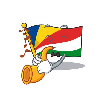 Super cool flag seychelles cartoon character performance with trumpet