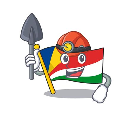 Cool Miner flag seychelles of cartoon mascot style
