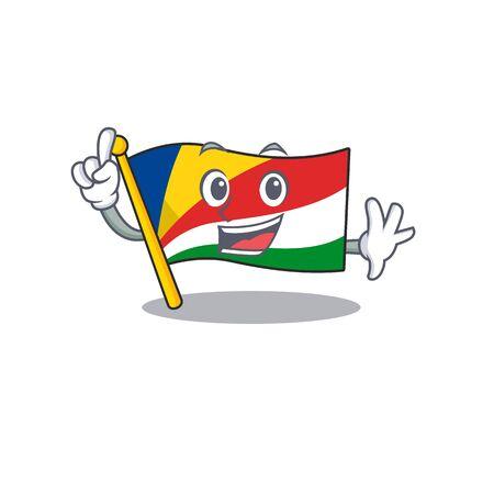Finger flag seychelles in mascot cartoon character style Standard-Bild - 134540926