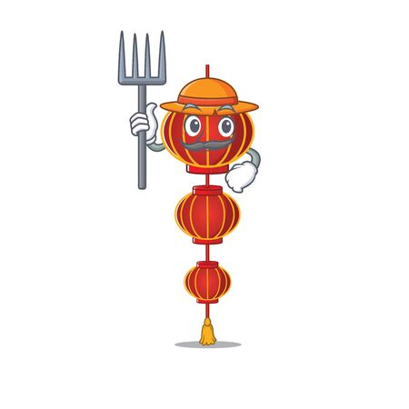 Farmer lampion chinese lantern cartoon character with hat and tools. Vector illustration