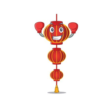 Funny Boxing lampion chinese lantern cartoon character style. Vector illustration Archivio Fotografico - 134515258
