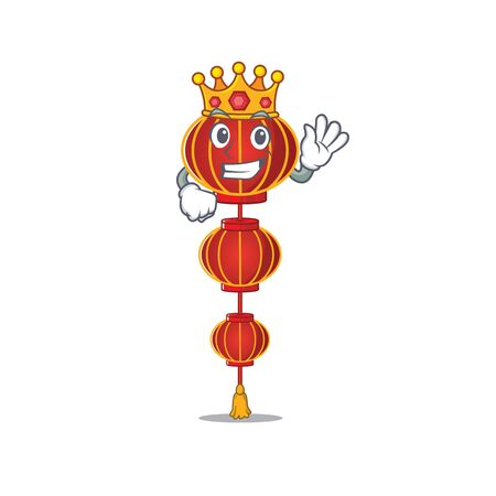 King Indonesian lampion chinese lantern on cartoon character mascot design. Vector illustration