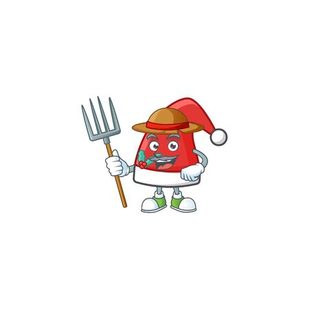 Farmer santa claus hat cartoon character with hat and tools