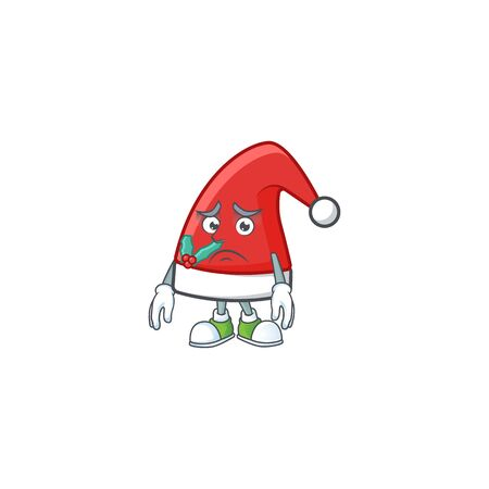 Santa claus hat Cartoon character showing afraid look face Ilustração
