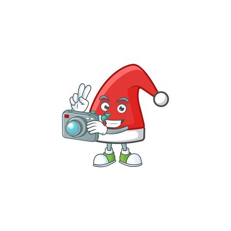 a professional Photographer santa claus hat cartoon character with a camera