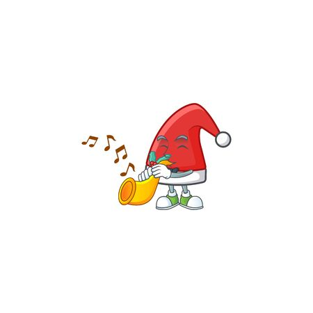 Super cool santa claus hat cartoon character performance with trumpet Ilustração